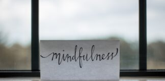 piece of paper with mindfulness written on